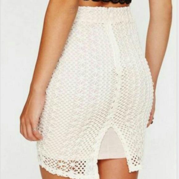 0c86eaf8dd2d Free People Skirts | Ivory Crochet Lace Overlay Skirt | Poshmark